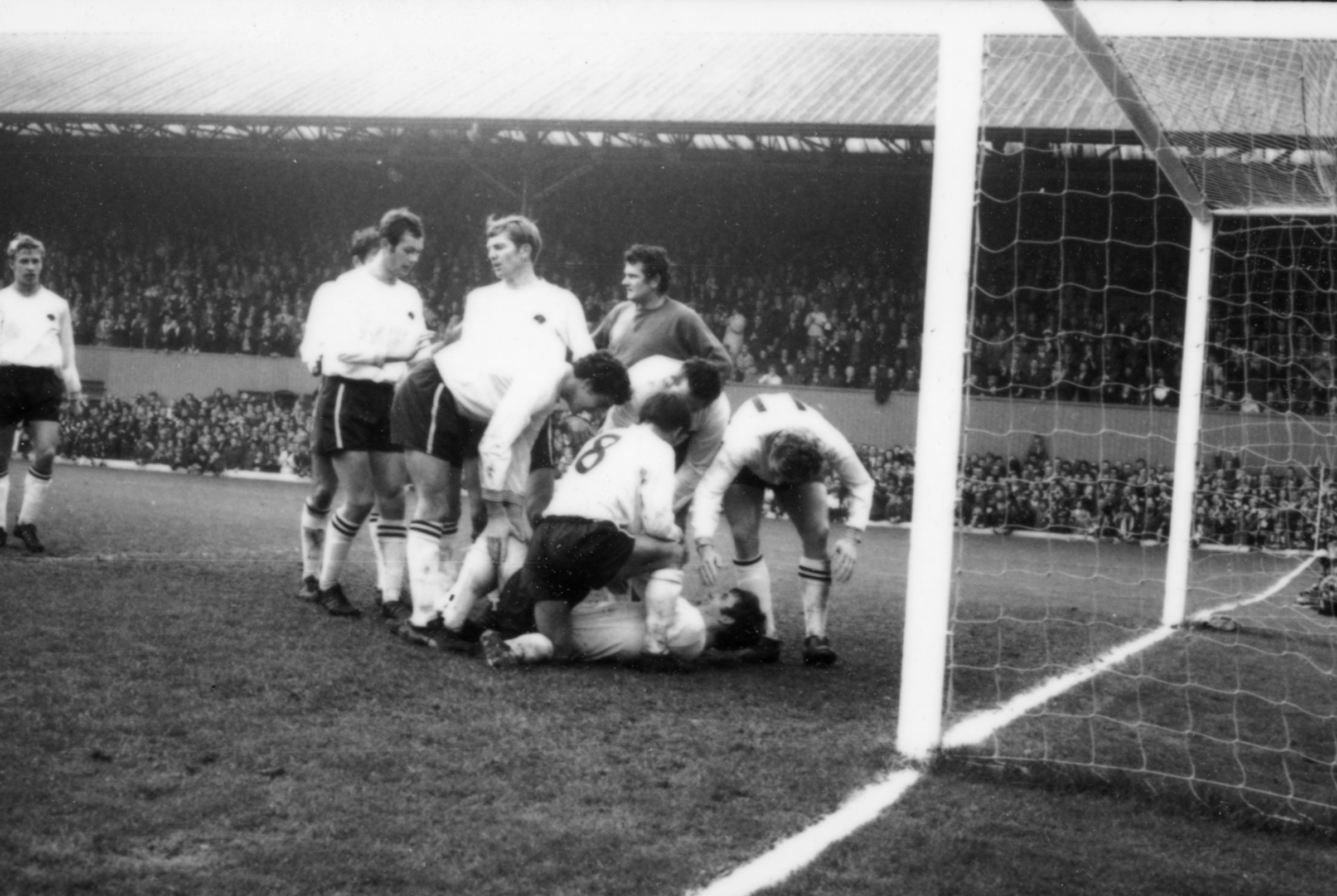 A buried Kevin Hector. 4-0 against Liverpool, 1 November 1969