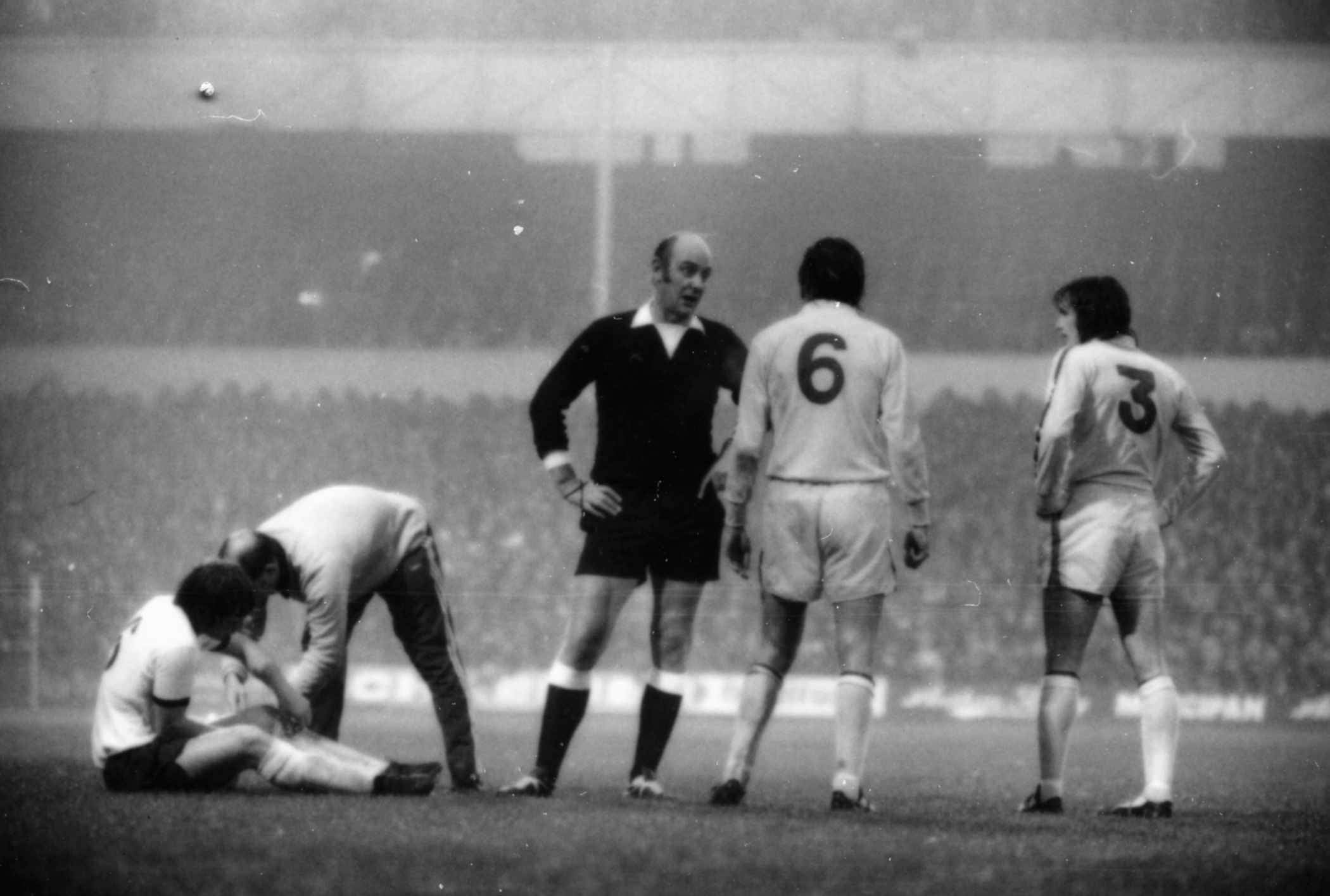 Norman Hunter of Dirty Leeds takes a talking to from the referee
