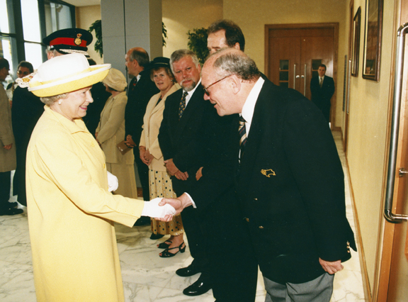 Lionel Pickering meets the Queen when she opened Pride Park