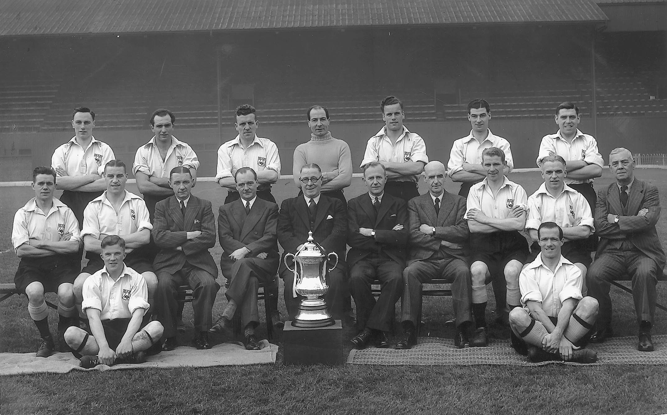 Derby County cup winner 1946. Contrast the neatly-laundered shirts worn here to those actually used for the match, as shown on the book cover